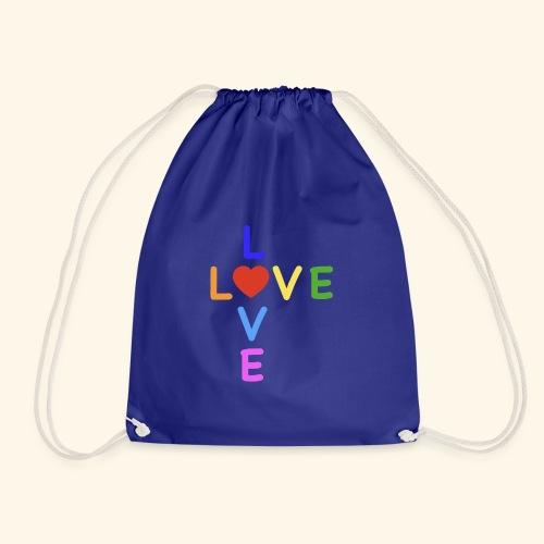 LOVE Cross rainbow heart 001 - Turnbeutel