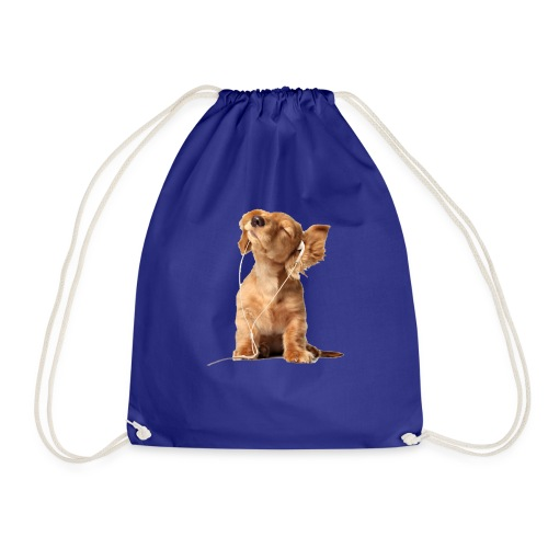 Cool Dog Listening to Music - Drawstring Bag