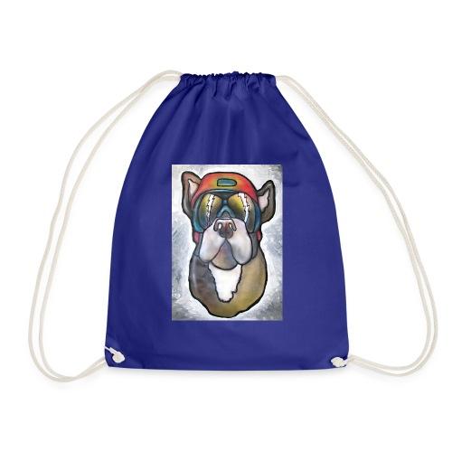 Bulldogge mit Sonnenbrille und Helm - Turnbeutel