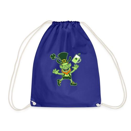 Euphoric Leprechaun Celebrating St Patrick's Day - Drawstring Bag