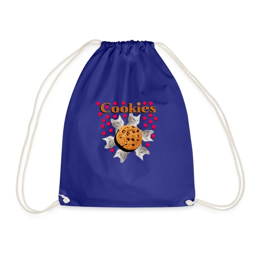Cookies and cat biscuits cats heart cat head - Drawstring Bag