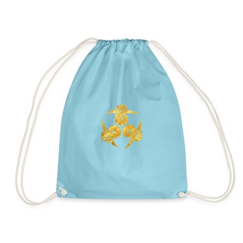 Three Geese Japanese Kamon in gold - Drawstring Bag