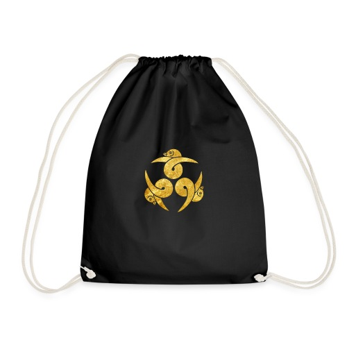 Three Geese Japanese Kamon in gold - Drawstring Bag