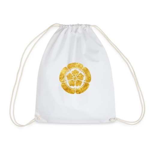 Oda Mon Japanese samurai clan faux gold on black - Drawstring Bag
