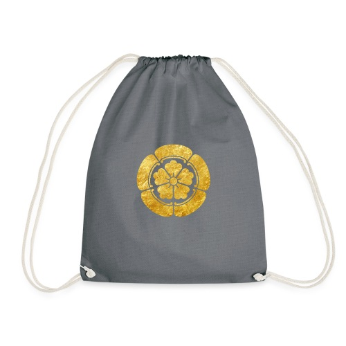 Oda Mon Japanese samurai clan faux gold on black - Drawstring Bag