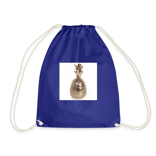 tj0067 large brass pineapple pot - Drawstring Bag