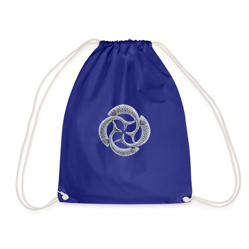 Silver Fish Circle - Drawstring Bag
