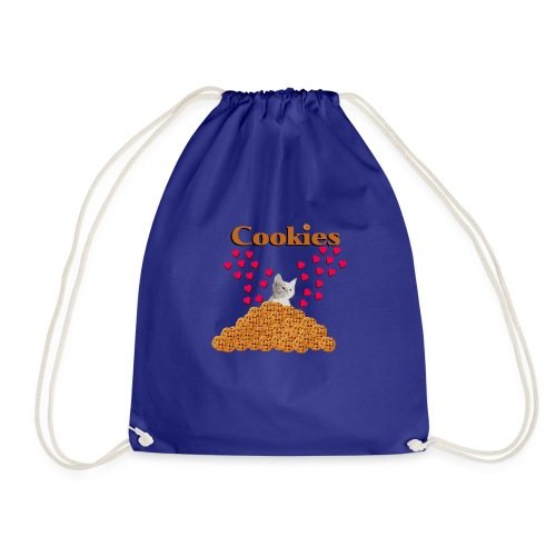 Cookies and cat Cat in biscuits heart - Drawstring Bag