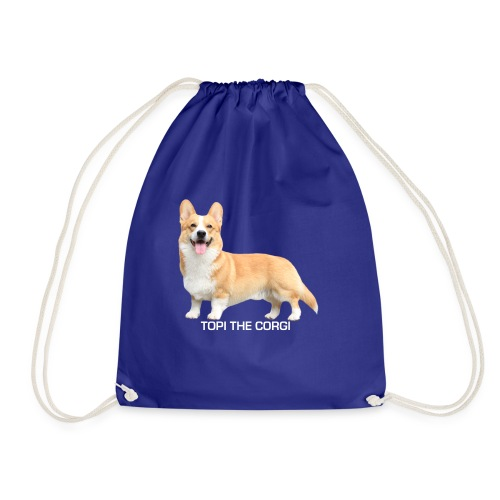 Topi the Corgi - White text - Drawstring Bag