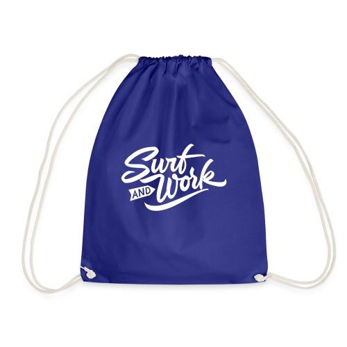 Surf and work logo white solid - Turnbeutel