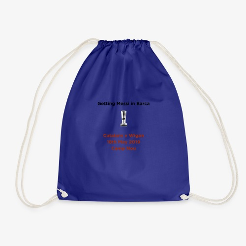 Getting Messi in Barca Super League Champions on T - Drawstring Bag