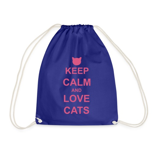 Keep Calm and Love Cats - Pink - Drawstring Bag