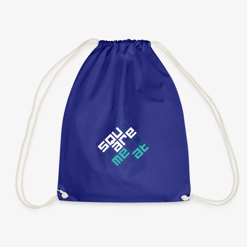 Squaremeat Cyan - Drawstring Bag