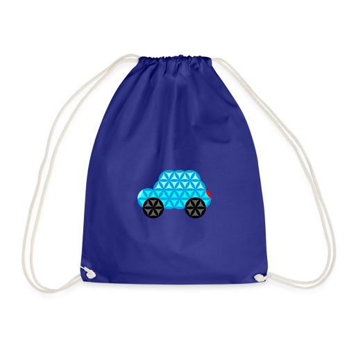 The Car Of Life - 01, Sacred Shapes, L/Blue. - Drawstring Bag