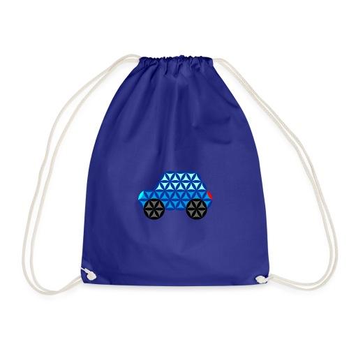 The Car Of Life - 01, Sacred Shapes, Blue. - Drawstring Bag
