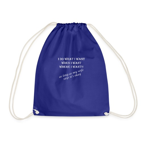 wife1 white text - Drawstring Bag