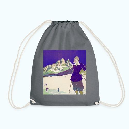 Ski trip vintage poster - Drawstring Bag