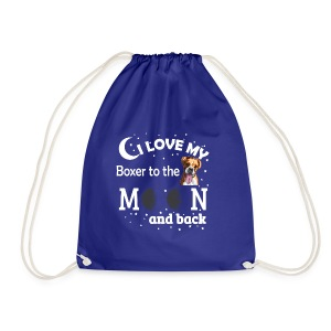 I love my Boxer to the Moon and back - Drawstring Bag