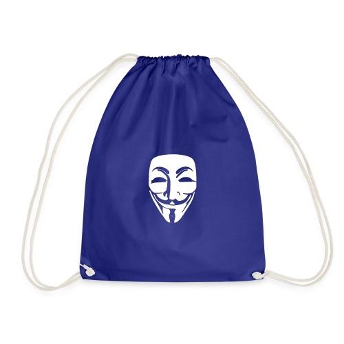 anonymous white mask - Drawstring Bag