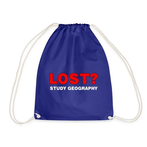 Lost? White Text - Drawstring Bag
