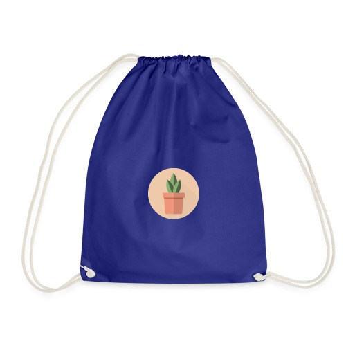 Flat 3 Leaf Potted Plant Motif - Drawstring Bag