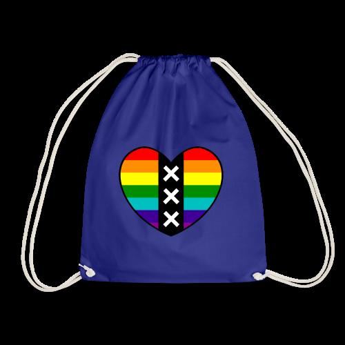Hart Amsterdam in regenboog kleuren - Gymtas