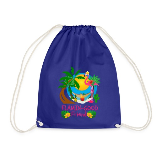 Cute Tropical Flamingo Hawaiian Design Sister Gift - Drawstring Bag