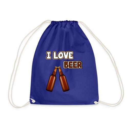 I love beer | Bier Flaschen Spruch lustig Alkohol - Turnbeutel
