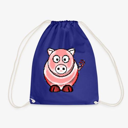 Schweinchen Retro Pixel Grafik Geschenk Bauernhof - Turnbeutel