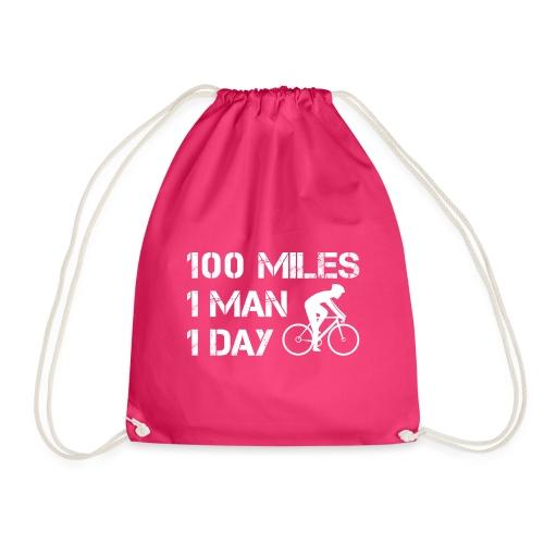 100 Miles One Man One Day - Drawstring Bag