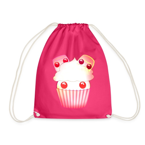 harajuku kawaii cupcake muffins med marshmallows - Drawstring Bag