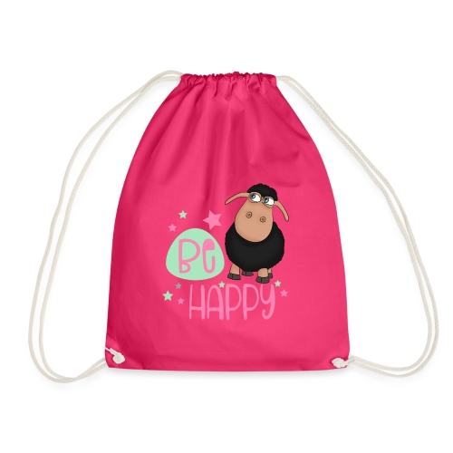 Black sheep - be happy sheep Happy sheep - Drawstring Bag