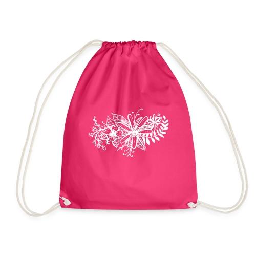 White Flower Artwork - Drawstring Bag