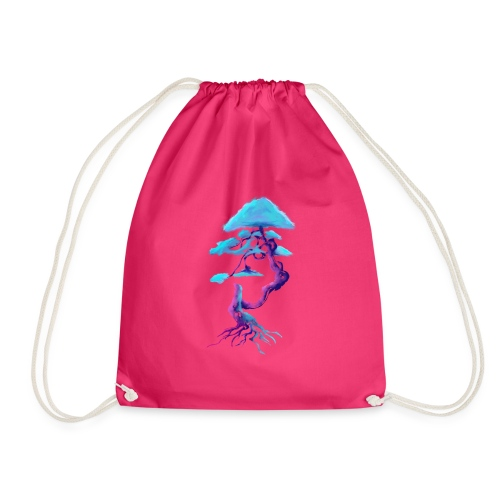 Tree design light blue and pink - Drawstring Bag