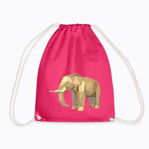 elephant geometric - Drawstring Bag