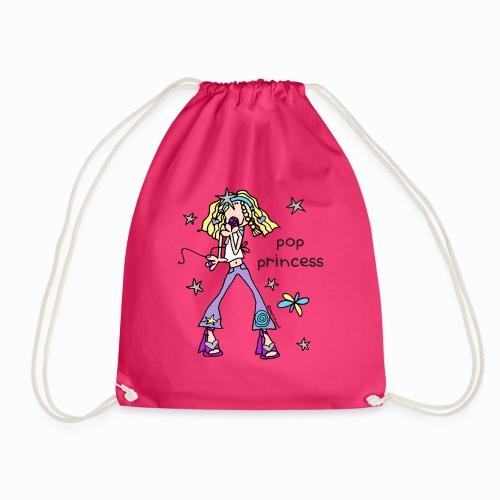 'pop princess' - groovy chick friend - Drawstring Bag