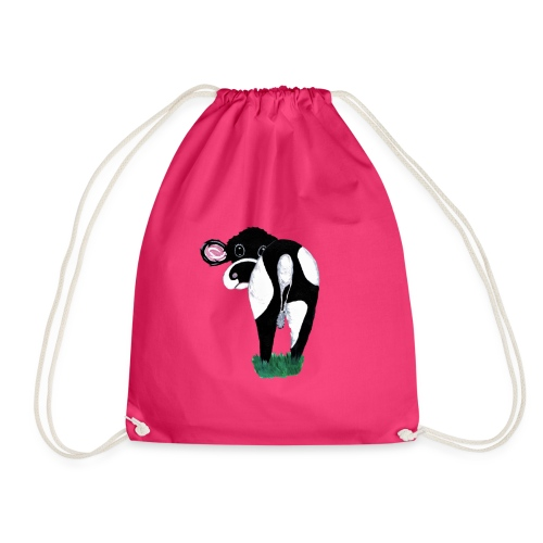 Quirky Cows Rear view - Drawstring Bag