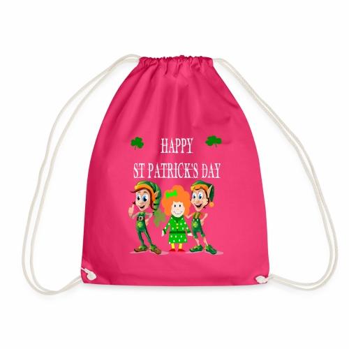Happy ST Patrick's Day Elf's & Girl - Drawstring Bag