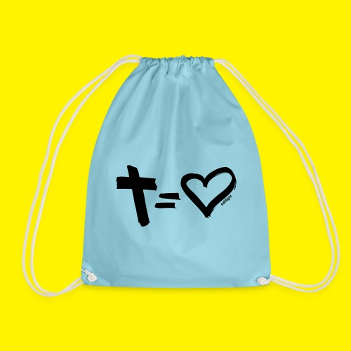 Cross = Heart BLACK - Drawstring Bag