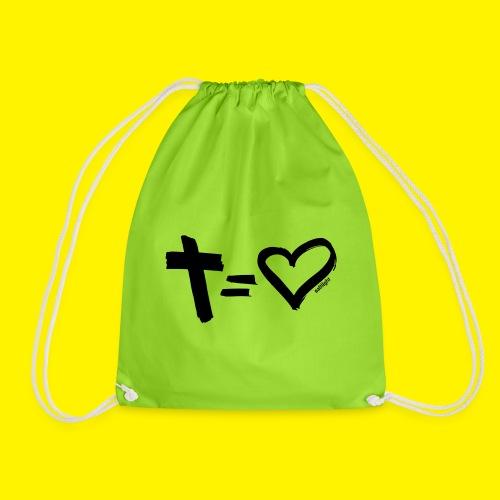 Cross = Heart BLACK - Drawstring Bag