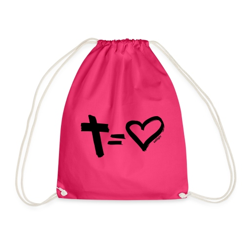 Cross = Heart BLACK // Cross = Love BLACK - Drawstring Bag