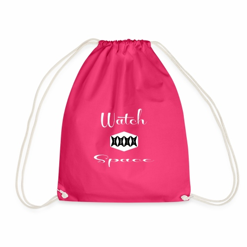 Watch This Space 2 (words, script, retro, white) - Drawstring Bag