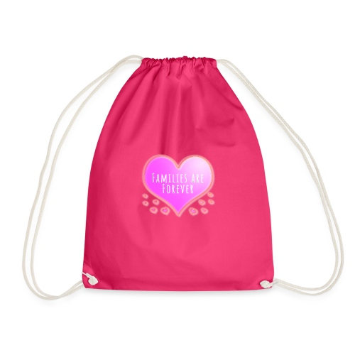 Families are forever pink heart - Drawstring Bag