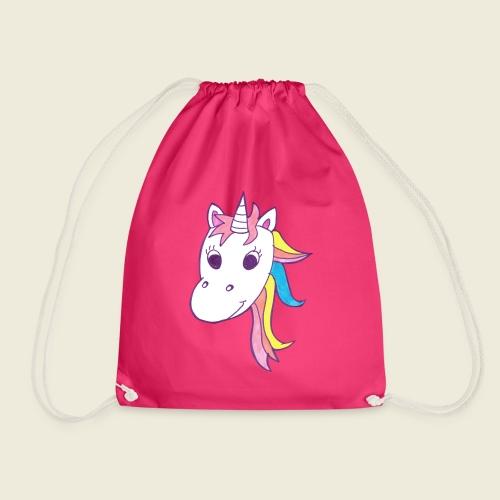 Einhorn Unicorna lila weiß bunte Mähne - Turnbeutel