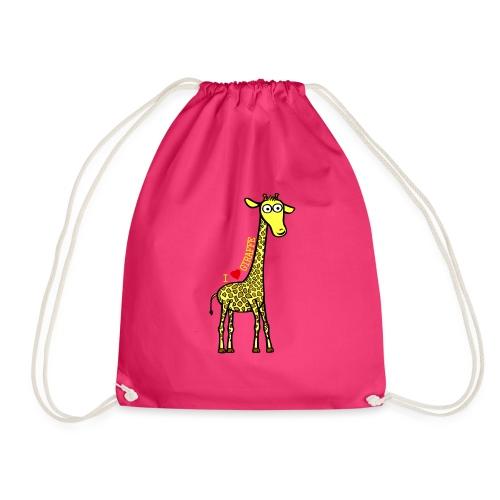 Kocham żyrafę - Żółty napis - Worek gimnastyczny