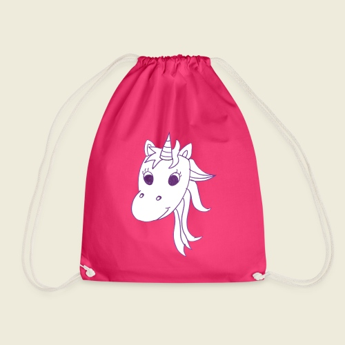 Einhorn Unicorna einfarbig weiß lila - Turnbeutel