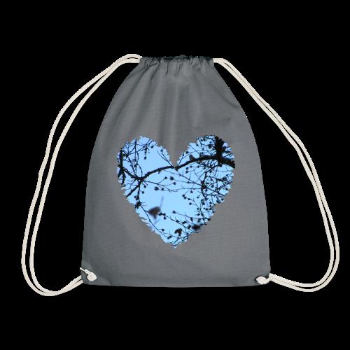 hart met boom takken en blauwe lucht, love t-shirt - Gymtas