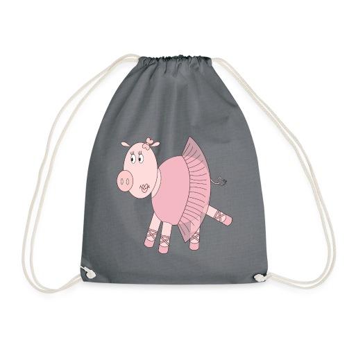 Ballerina Pig - Drawstring Bag