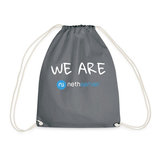 white-blue-rectangular - Drawstring Bag