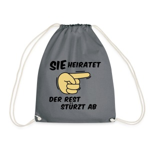 Sie heiratet der Rest stürzt ab - JGA T-Shirt - Turnbeutel